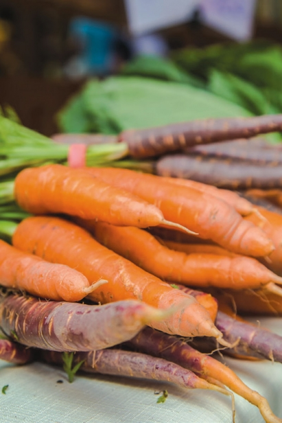 Local carrots at the farmers market