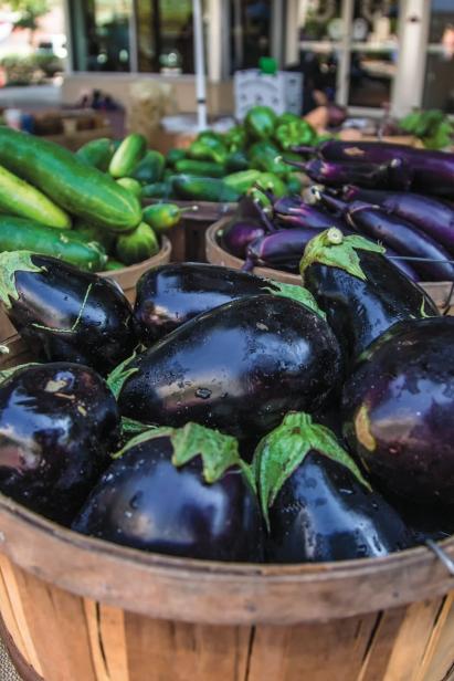 Summer eggplants at the farmers market
