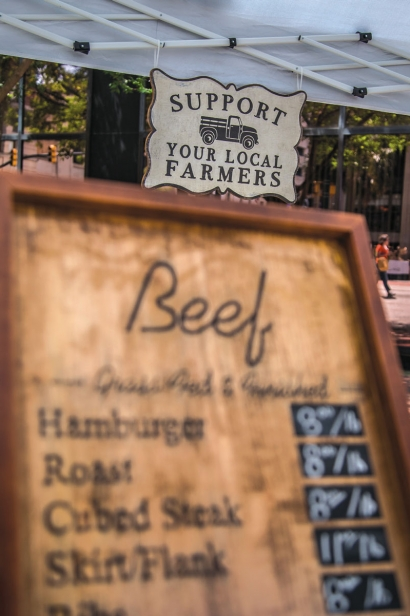 Local beef at farmers market